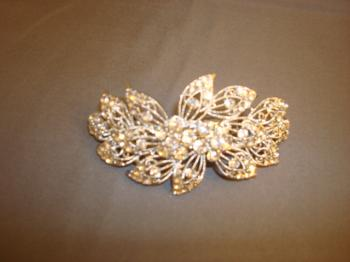 CRYSTAL AND SILVER FLOWER BARRETTE LARGE