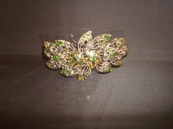 GREEN AND SILVER SWAROVSKI CRYSTAL LARGE BARRETTE
